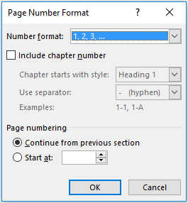 word paginanummering